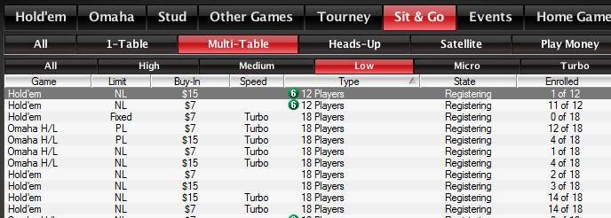Многостоловые СНГ на PokerStars