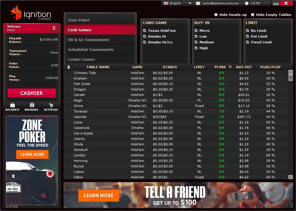 Ignition Casino Cash Games